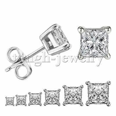 Women Men Silver Stainless Steel Square White Cubic Zirconia Stud Earrings Gift