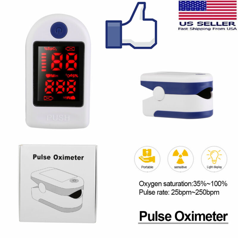 US Finger-Tip Pulse Oximeter Blood Oxygen SpO2 Monitor Heart Rate Meter FDA CE