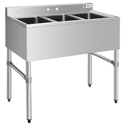 Stainless Steel Utility Sink With 3 Compartment Commercial Kitchen Sink