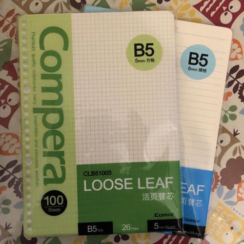 26-Hole Ring Binder Loose Leaf Paper, B5 Filler Paper Ruled & Grid (100 Sheets)