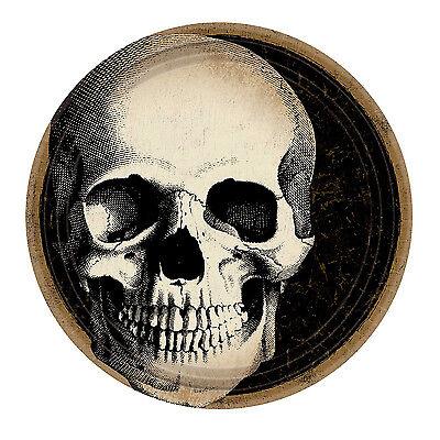 8 X Halloween Friedhof Papierteller Totenkopf Gräten Party Geschirr 23cm