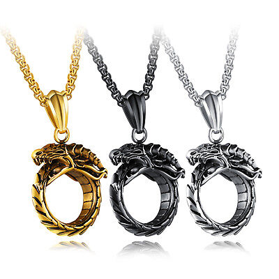 Mens Stainless Steel Ouroboros Dragon Serpent Snake Infinity Pendant Necklace (Dragon Snake Necklaces)