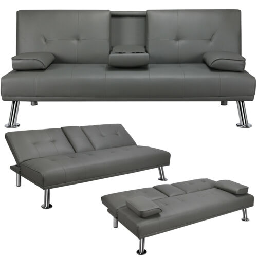 Convertible Sofa Sleeper Couch Loveseat Futon Sofa Bed PU Le