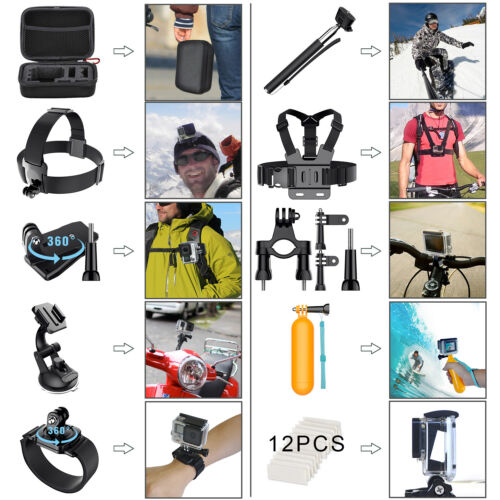 Купить Unbranded/Generic - 58 in 1 GoPro Accessories Hero 6 5 4 3 2 1 Bundle Camera Outdoor Sports Set Kit