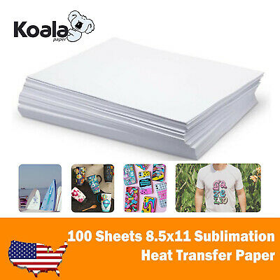 Koala 100 Sheets 8.5x11 Dye Sublimation Ink Heat Transfer Paper Mug T-shirt