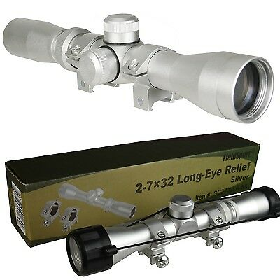 Field Sport 2 7X32 Scout Scope  Silver Anodized With Rings Lens Cover