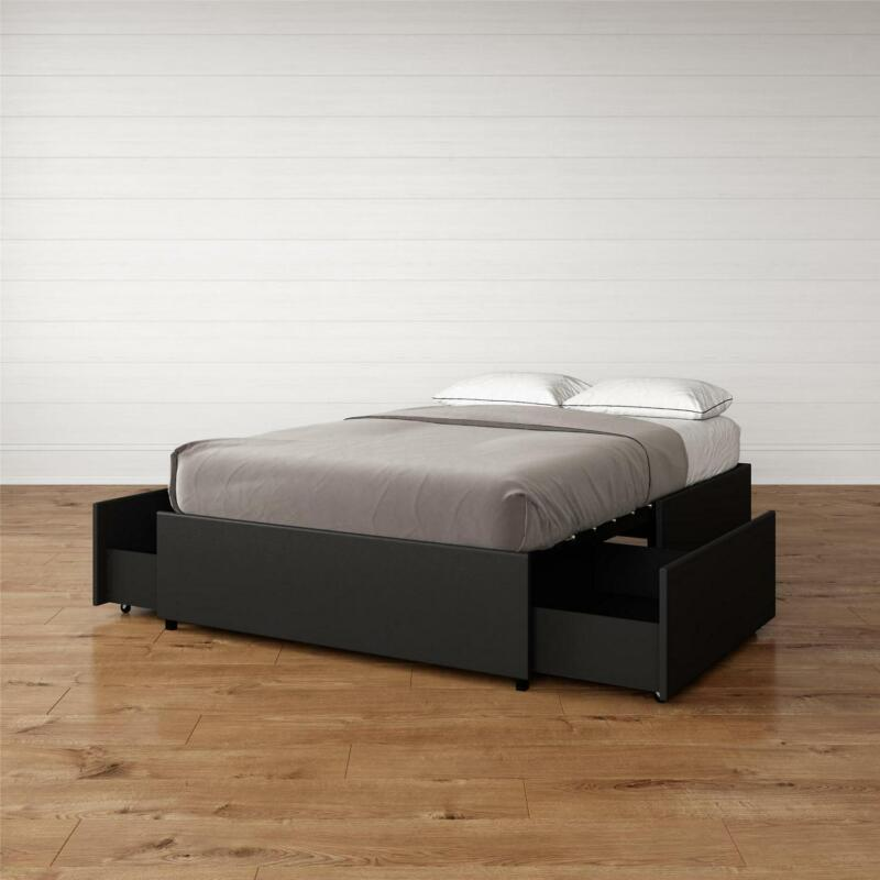Maven Platform Bed With Storage Full Size Modern Low Profile Black Faux Leather