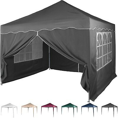 Klapp Falt Pavillon 3x3m WASSERDICHT anthrazit Party Zelt Gartenzelt Pavillion