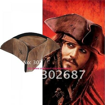 Jack Sparrow Costume Accessories (Caribbean Pirate Hat Brown Jack Sparrow Party Costumes Fashion Adult)