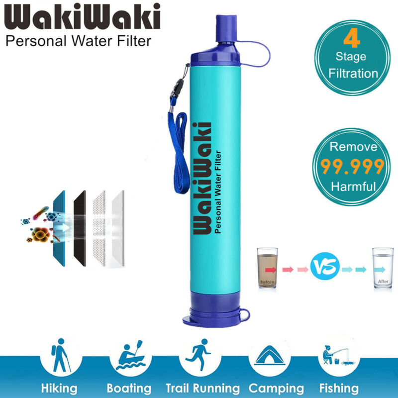 Outdoor Survival Water Filter Straw Personal Purifier Emergency Camping Hiking
