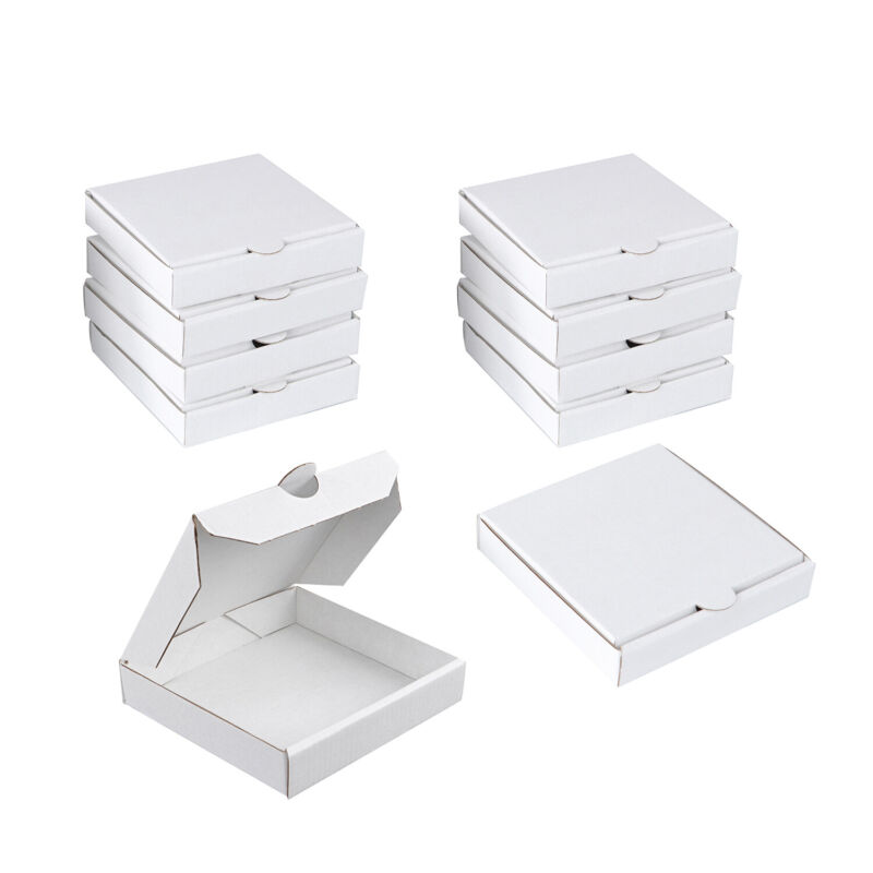 Spec101 White Mini Pizza Boxes, 5 Inch Party Favor Cookie Cardboard Box 10-Pack