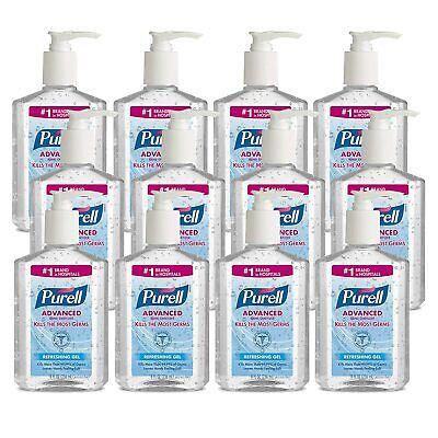 PURELL Advanced Hand Sanitizer Gel w PUMP, 8 fl oz, PACK OF 12