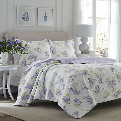 Laura Ashley Keighley Lilac 3-Piece Quilt Set, Cotton, Twin/Full/Queen/King ()