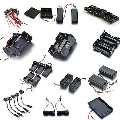 Plastic Battery Holder Case Storage Spring Clip Wwire Leads For 18650aaaaa