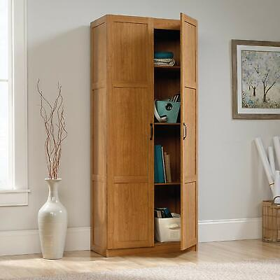 Storage Cabinet Oak Wood Double 2 Panel Doors Pantry Office Kitchen Laundry 71