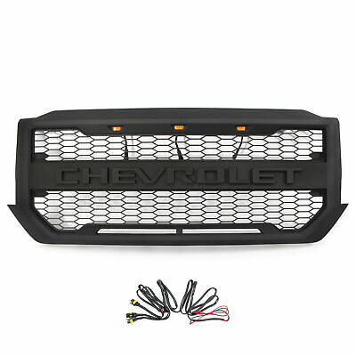 Grille Fit for 2016-2018 Chevrolet Silverado 1500 Black Grill w/3 LED & Letters