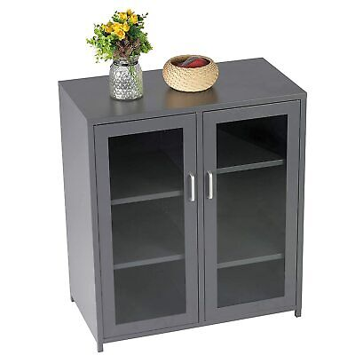 Curio Display Storage Cabinet W/ Glass Doors Sideboard Buffet Cupboard Kitchen