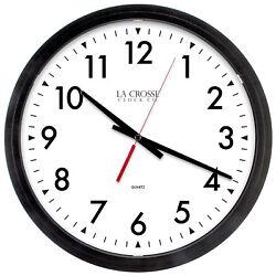 404-2636 La Crosse Clock Company 14 Commercial Analog Quartz Wall Clock - Black