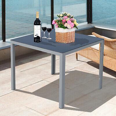 Alu Gartentisch mit Glasplatte Balkontisch Beistelltisch Campingtisch 87 x 87cm