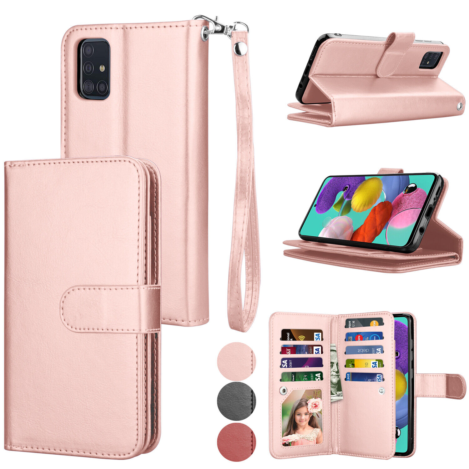 For Samsung Galaxy A51 A71 Wallet Case Leather Card Folio Magnetic Phone Cover Cases, Covers & Skins