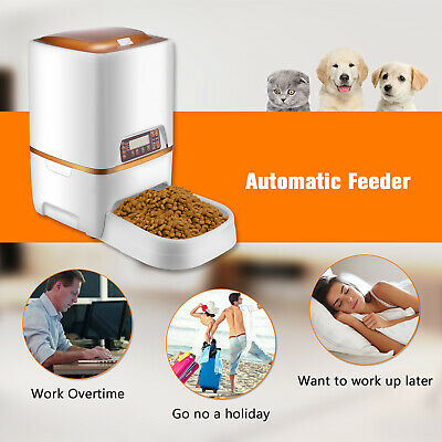 6L Automatic Pet Feeder Food Dispenser for Cat Dog Timer Programmable US Stock. ()