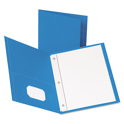 Oxford Twin-pocket Folders With 3 Fasteners Letter 12 Capacity Light Blue 25
