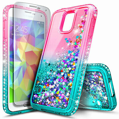 for SAMSUNG GALAXY S5 Liquid Glitter Case Bling TPU Cover + Screen Protector