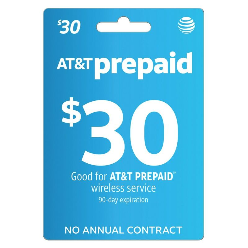 AT&T | $30 | DIRECT REFILL | RECHARGE | REUP