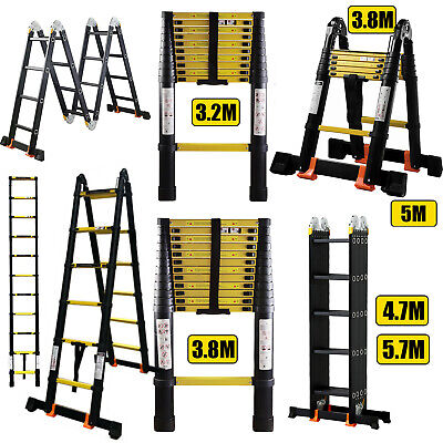 Black Multipurpose Aluminium Step Telescopic Folding Ladder Extendable 2.6M-5.7M