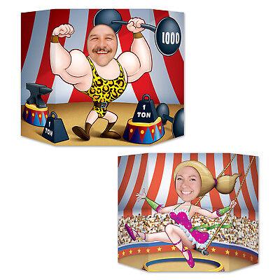2 CIRCUS CARNIVAL Big Top Photo Props STRONGMAN TRAPEZE GIRL birthday party game - Circus Strongman