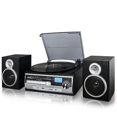 RECORD VINYL LP CD PLAYER TURNTABLE STEREO SPEAKER SYSTEM FM RADIO BLUETOOTH USB (Cd-player Vinyl)