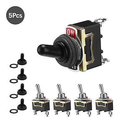 5x Toggle Switch Heavy Duty 20a 125v Spst 2 Terminal Onoff Car Waterproof Atv