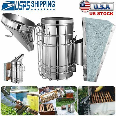 Bee Hive Smoker Stainless Steel With Heat Shield Calming Beekeeping Equipment Us