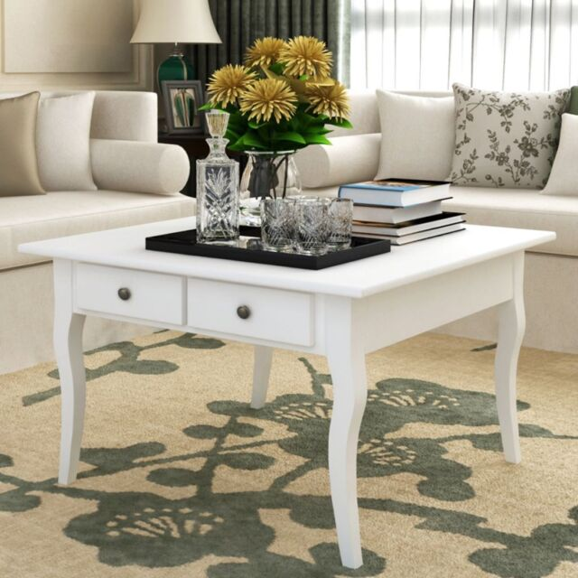 Vintage White Coffee Table Wooden 4 Drawers Storage Curved Legs Living Room Home