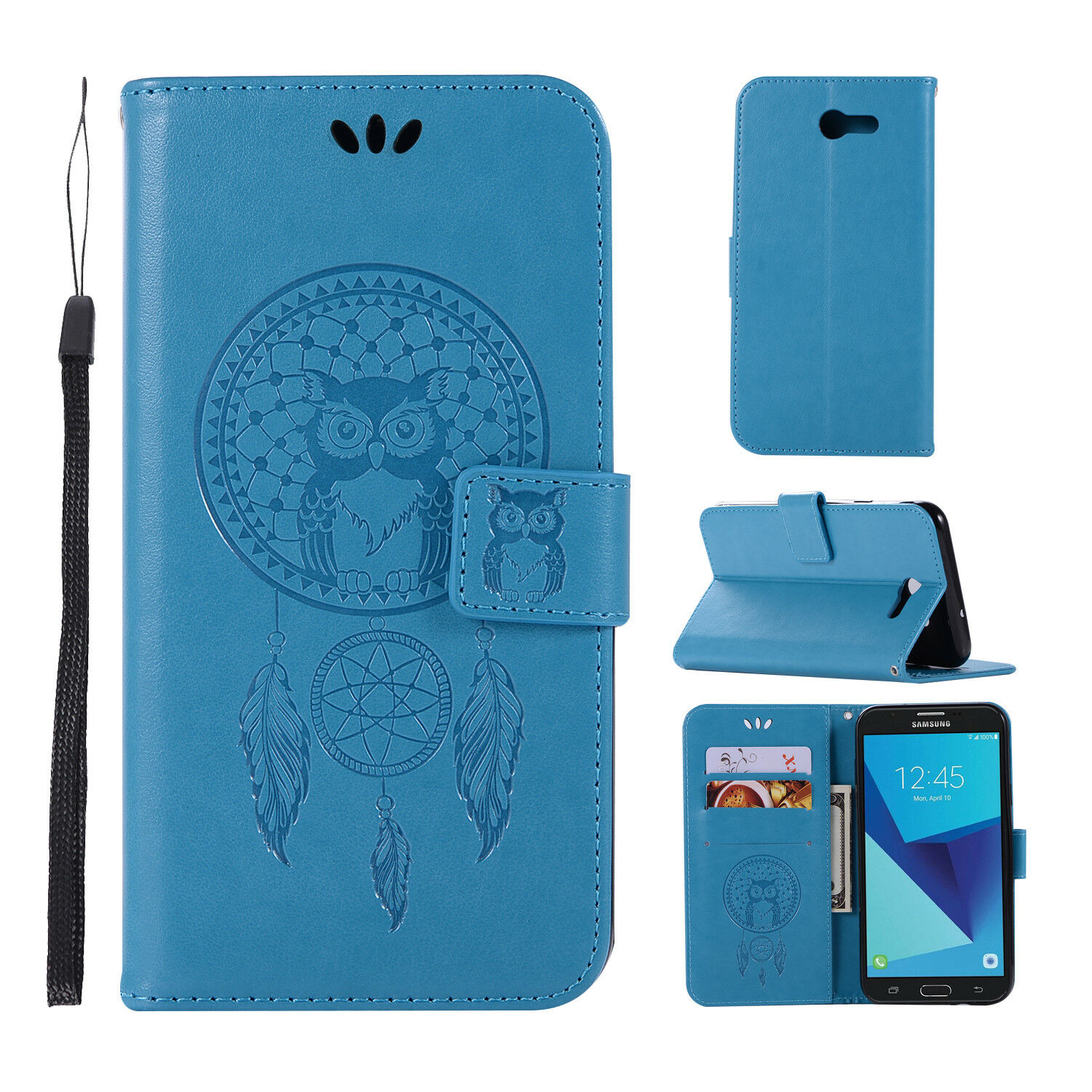 For Samsung Galaxy J7 Prime J7 2017 Genuine Wallet Leather Fold Stand Case Cover