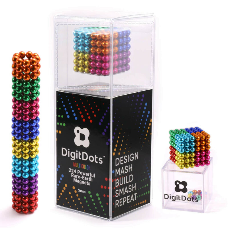 BrainSpark DigitDots Multi Colored 224 Pcs 5mm Magnetic Balls 8 Colors Fidget