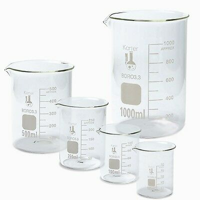 Glass Beaker Set Measuring Borosilicate Pack Of 5 Karter Scientific Science Cups