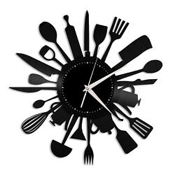 Cooking Vinyl Wall Clock Record Unique Design Home and Kitchen Decoration