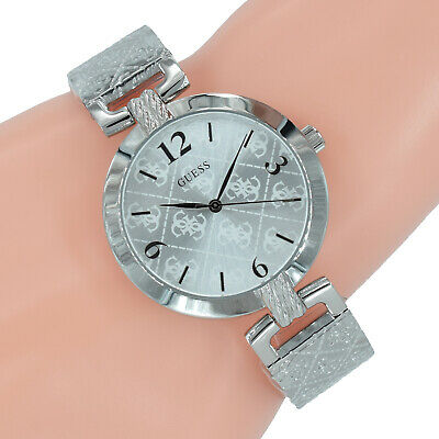 Guess Damen Uhr W1228L1 G Luxe Silber Armreif Edelstahl Armband