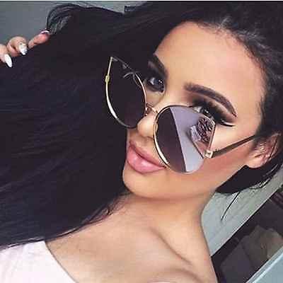 Cat Eye Übergröße Damen Sonnenbrille L Metallrahmen Pink Gold Verspiegelte Linse