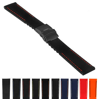 StrapsCo Rubber Watch Band w/ Matte Black Deployant Clasp - Quick Release (Matte Black Rubber)