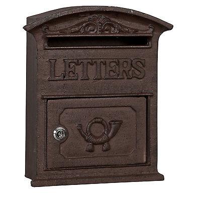 Clayre & Eef 6Y1267 Briefkasten LETTERS aus Gusseisen braun ca. 27 x 9 x 31 cm