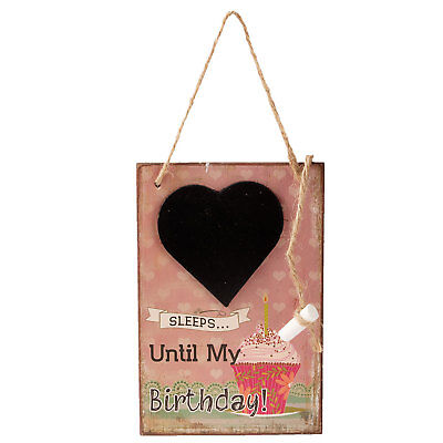 Dekoschild **....Sleeps until my Birthday ***Shabby  Tafel in Herzform Kreide  (Tafel Birthday Schild)