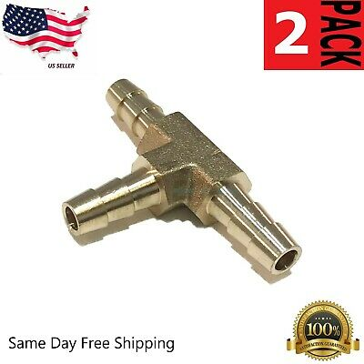"2 Pack Lot 6mm 1//4/"" HOSE BARB TEE Brass 3 WAY T Fitting Gas Fuel Coyote Gear"