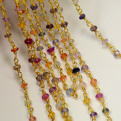 3MM 18K Gold Vermeil Gem Multi-color Sapphire Gemstone Chain By The FOOT
