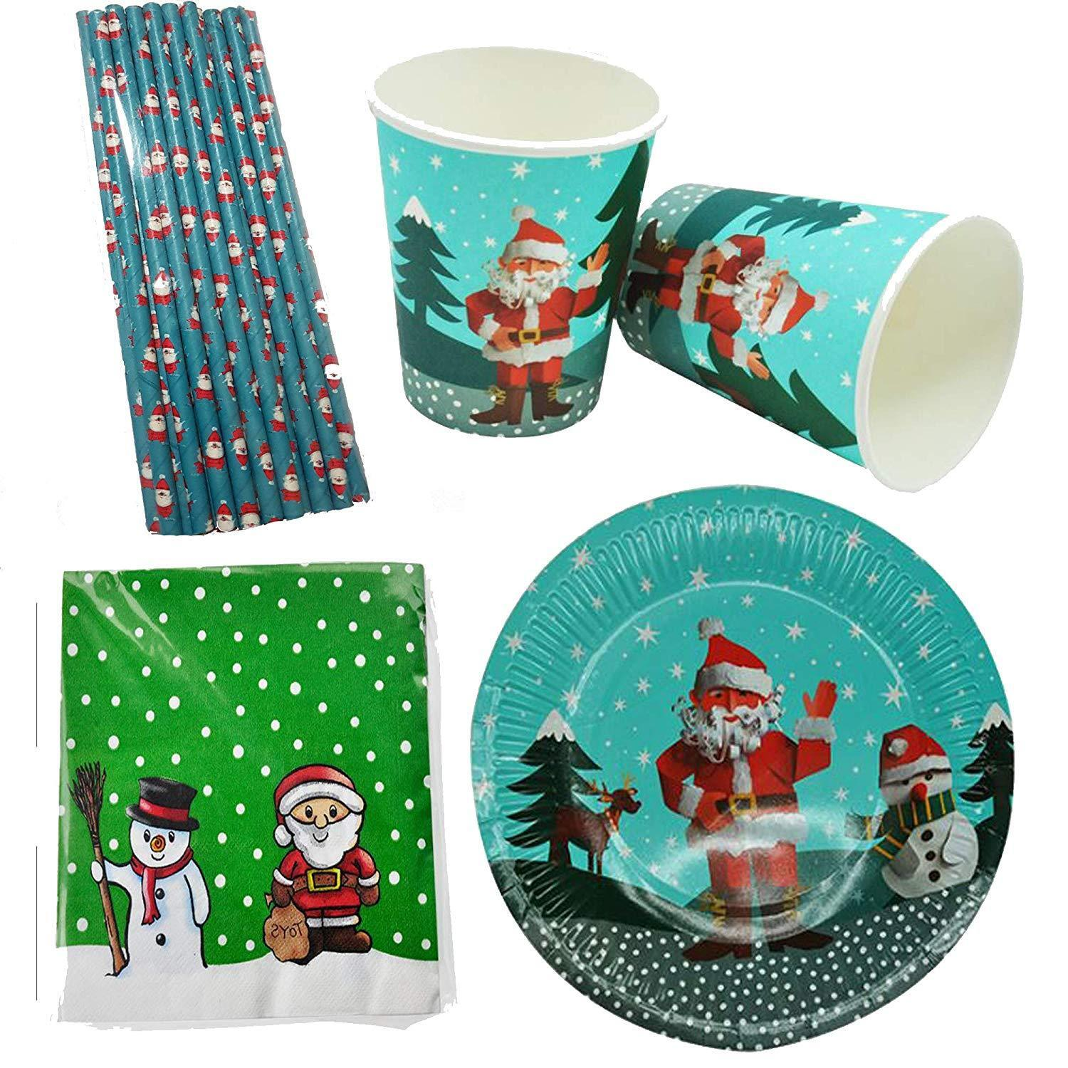 Christmas Paper Plates And Napkins.Details About Christmas Xmas Santa Kids Party Set Tableware Paper Plates Cups Straws Napkins 1