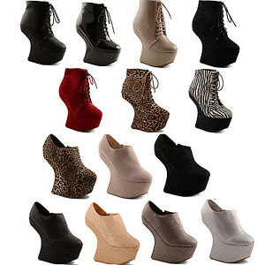 New-Ladies-Party-Ankle-Shoe-Boot-High-Heel-Less-Platform-Wedges-Size-3-4-5-6-7-8