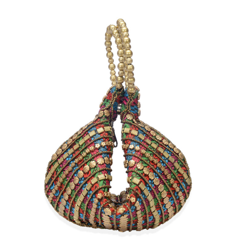Multi Color Brocade Fabric Pearl and Acrylic Beads Potli Bag