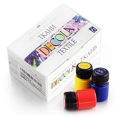 DECOLA Hochwertiges Textilfarbe Set 6x20ml Stoffmalfarben waschfest mischbar DIY