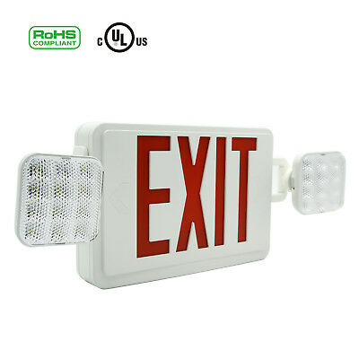 1246pack Red All Led Exit Sign Emergency Light Square Head Combo Ul924 Combor
